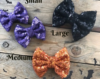 Halloween Sequin Bows Baby Headbands Sequin Hair Bows Orange Hair Bow Halloween Headbands Baby Girl Headband Newborn Photography Props