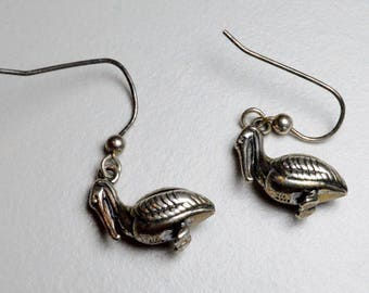 SALE Vintage Sterling Silver KBN Kabana Pelican Bird Pierced Dangle Earrings