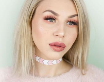 Pink and White Arrow Stretch Choker - Necklace