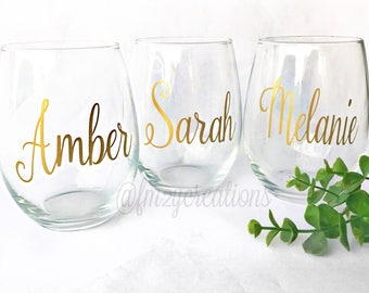 Personalized Stemless Wine Glasses | Bridesmaid Stemless Wine Glasses | Bridal Party Glasses | Custom Wine Glass | Personalized Wine Glass