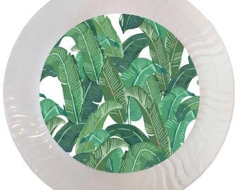 Tropical Banana Leaf Plastic Plates - Set of 12