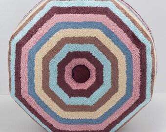 Beach Ball Stripe Pouf Ottoman- Terry cloth Footstool- Floor Ottoman- Dorm room decorating- by beckyzimmdesign