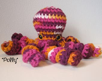 Polly the Octopus : handmade crochet stuffed animal toy - Pink Gold White