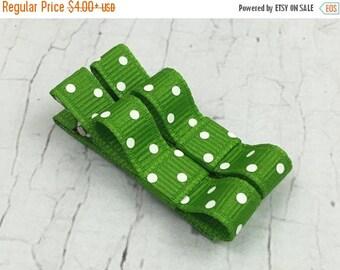 ON SALE Baby Hair Clips - Green Polka Dot  - Tuxedo Alligator or Snap Hair Clip Set - Baby, Girl, Toddler, Children