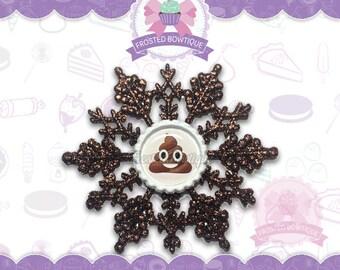 Chocolate Brown Poop Emoji Glitter Snowflake - Christmas Ornament