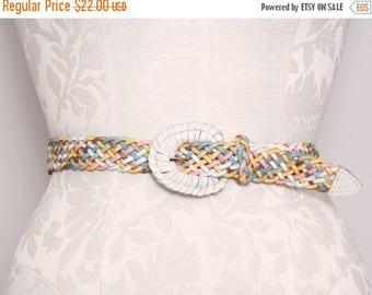 SALE Colorful Braided Leather Belt. Size Medium Women's Belt. Vintage Woven Leather Belt. Vintage 1980s Leather Belt. Pink Blue Gold White B