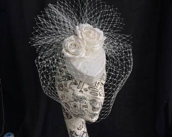 Bridal Pillbox Hat with Birdcage Veil
