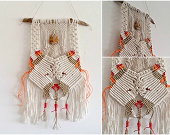 Tribal Woven Art Bear, Sculptural Macrame Wall Hanging, Branch Woven Wall Hanging, Off White Red Orange, Boho Wall Hanging, Bear Wall Totem