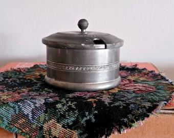 Pewter Sugar Dish Vintage, Sugar Bowl Lidded, Trinket Dish, Silver Metal Storage Dish, Retro Kitchen Display, Small Silver Tone Canister