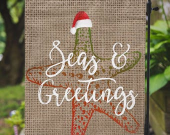 Christmas Flag |  Seas & Greetings | Beachy Christmas | Garden or Large House Flag | Size via Dropdown | Convo for Custom