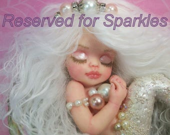 RESERVED...Final 2nd  Payment....OOAK art doll fantasy mermaid baby polymer clay sculpture fairy  IADR  June Pearl birthstone