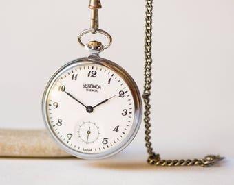 Retro men's pocket watch Sekonda, sleek silver shade men's pocket watch Soviet, mechanical pocket watch wedding gift, elegant gent's watch