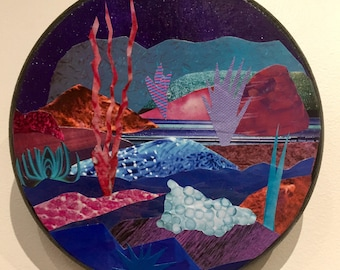 "Original Mixed Media Collage Otherworldly Landscapes Series Art by Jami Joelle Nielsen ""Andromeda"""