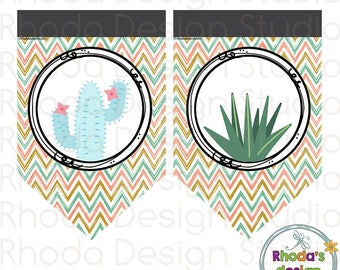 Cactus Triangle Banner Party Decoration Instant Download Chevron Cacti Printable Digital