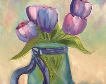 50% off SALE Tulips in Blue Glass Vase, Original Hand Painted Oil Painting. Size 11 x 14 canvas panel