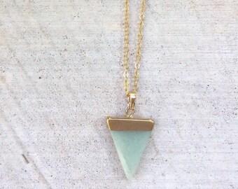 Triangle cut aventurine stone  pendant necklace