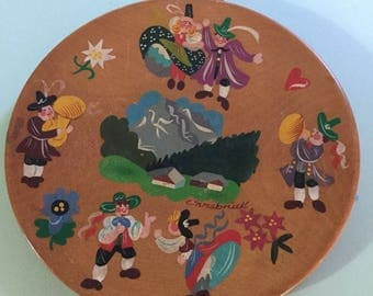 Small Wooden Painted Decorative Plate