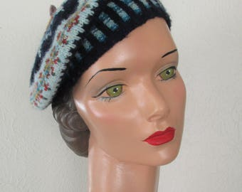 Hand Knit Fair Isle Beret Pure Wool Ready to Ship Women Tam Hat