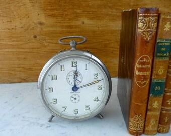Vintage Alarm Clock, German Wind Up Table Clock, Retro Metal Desk Clock, Office Accessory, Industrial Decor, Non-Working Decorative Clock
