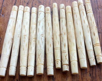 3 1/2 inch Carved Etched STAINED White Bone Hairpipe Beads with Cactus Design & Dots - Hair Pipe Bone Beads