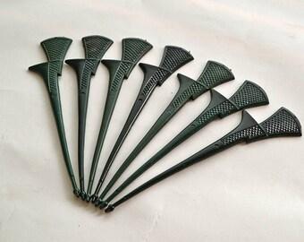 Set of 7 Vintage Sword Swizzle Sticks, Dark Green Textured Plastic, Drink Stir, Cocktail Stick, Barware
