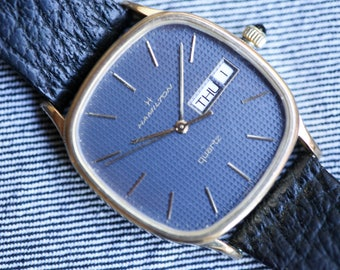 Vintage Hamilton Masterpiece Quartz Watch blue waffle dial with day date function and original strap