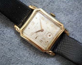 Vintage Hamilton Watch gold square case with black leather strap