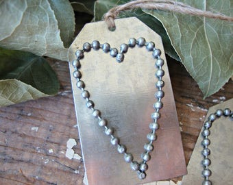 Silver Metal Beaded Heart Tag