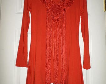 Vintage Crochet Top Blouse Tunic Fringe Red medium Long Sleeve Hippie Bohemian Boho
