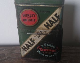 Antique Burley and Bright Telescoping Tobacco Tin