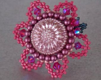 Summer sale Ring,Bead embroidery , Seed beads jewelry, Fashionable ring, Statement ring, pink , Purple, Czech glass buttons,swarovski