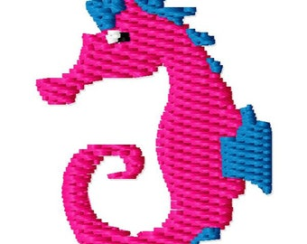 Small Seahorse Machine Embroidery Design - Instant Download