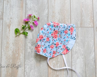 Coral and Blue Reversible Cotton Baby Bonnet, Modern Bonnet, Sun Hat, Baby Shower, Gift, Size 6-12 Months, Ready to Ship, Rose and Ruffle
