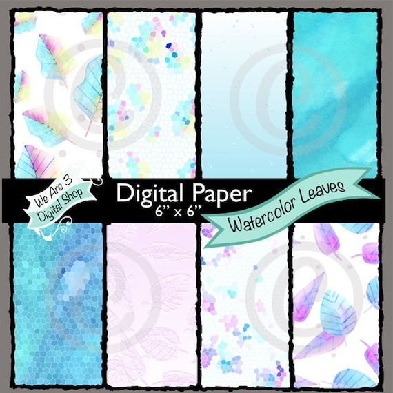 We Are 3 Digital Paper, Watercolor Leaves, Intro Price