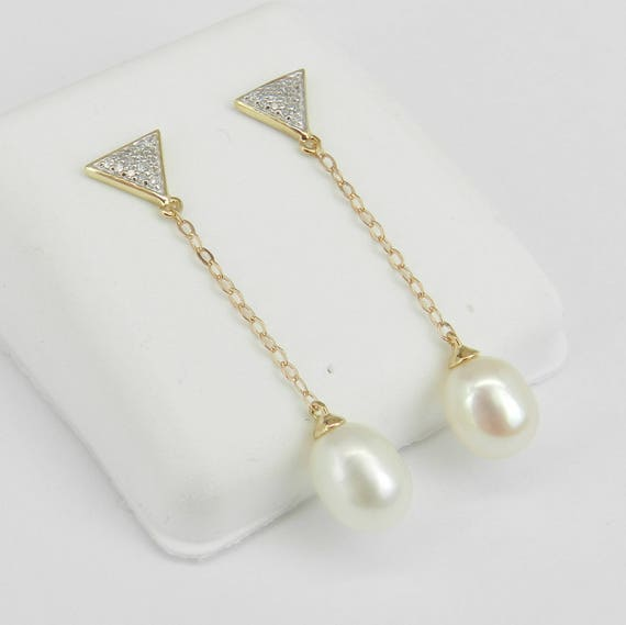 Pearl and Diamond Dangle Drop Earrings Yellow Gold June Birthstone Triangle