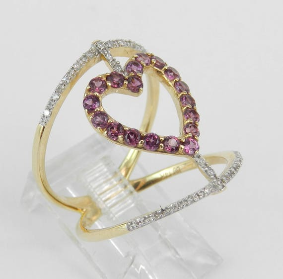 14K Yellow Gold Diamond and Rhodolite Garnet Heart Cocktail Ring Size 7 Modern