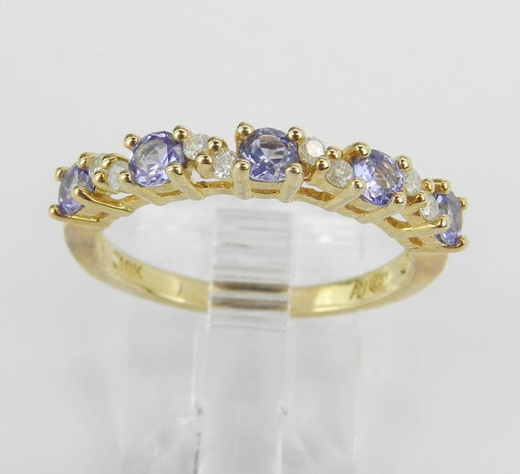 Diamond and Tanzanite Wedding Ring Stackable Anniversary Band Yellow Gold Size 7