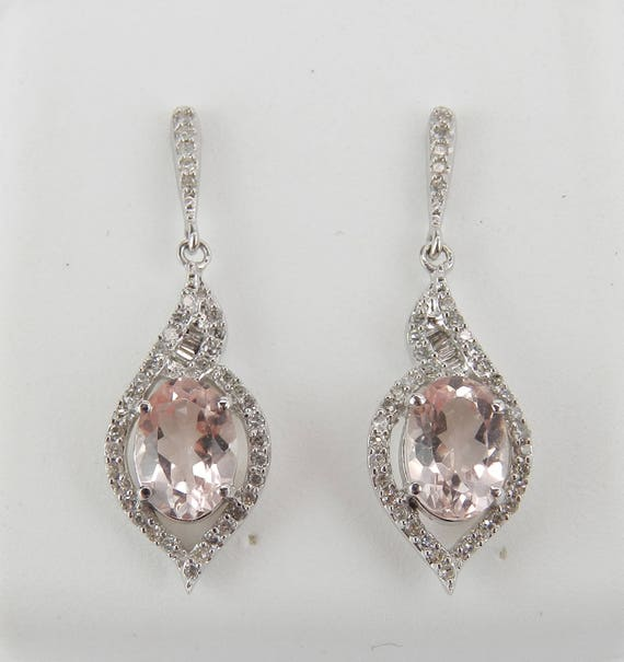 14K White Gold Morganite and Diamond Drop Earrings Wedding Gift Pink Gemstone