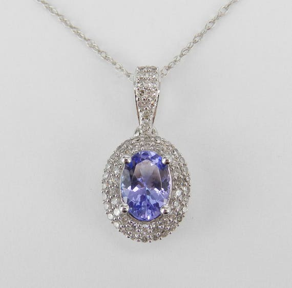 "Diamond and Tanzanite Halo Pendant Necklace 14K White Gold Wedding Gift 18"" Chain December Birthstone"