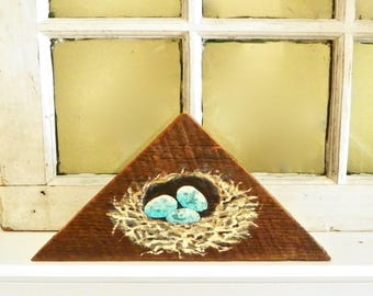 Hand Painted Bird's Nest on Barn Board, Artisan Crafted Painted Robin's Nest