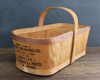 Rustic Split Wood Farm Basket, Farm Market Basket, Vintage Fruit Basket, Lakelee Orchards, Farmhouse Decor