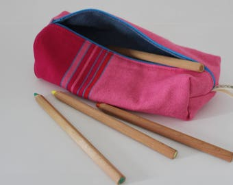 Pencil bag, Zippered Pencil Pouch, Raspberry and Hot Pink Traditional Kikoy Pencil Bag, Pen Bag