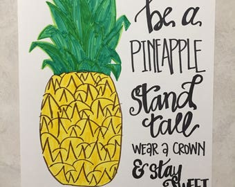 Pineapple Print, Wall Art, Pineapple Wall Art, Hand Lettering, Quote Art