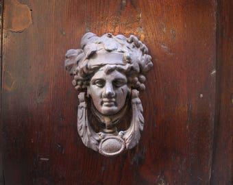 Ornate Figural Italian Door Knocker Luxury Print Venice Italy Photo  Weathered Bronze On Wooden Door