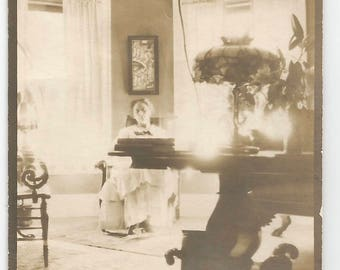 "Vintage Photo ""At Her Writing Desk"" Victorian-Era Interior Tiffany Lamp Sunlit Room Artistic Albumen Print Found Vernacular Photo"