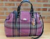 large carpet bag with real leather handles