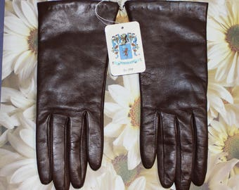 Beautiful Vintage Portolano Brown Italian Leather and Cashmere Gloves, NOS