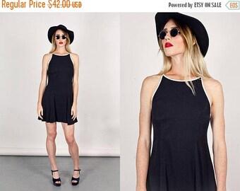 FLASH SALE 80s Skater Dress Vintage Halter Dress Black White Minimal Dress