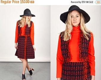 FLASH SALE 60s Bright Red Tweed Dress Vintage Long Sleeve Blood Orange Mod Mini Dress