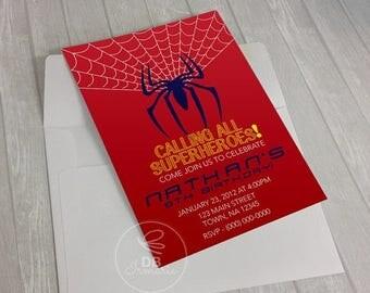 ON SALE Spiderman's Birthday Invitation